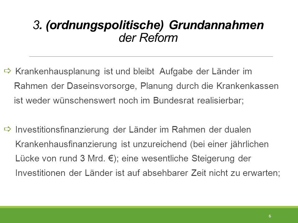 3. (ordnungspolitische) Grundannahmen der Reform  Krankenhausplanung ist und bleibt Aufgabe der Länder im Rahmen der Daseinsvorsorge, Planung durch d