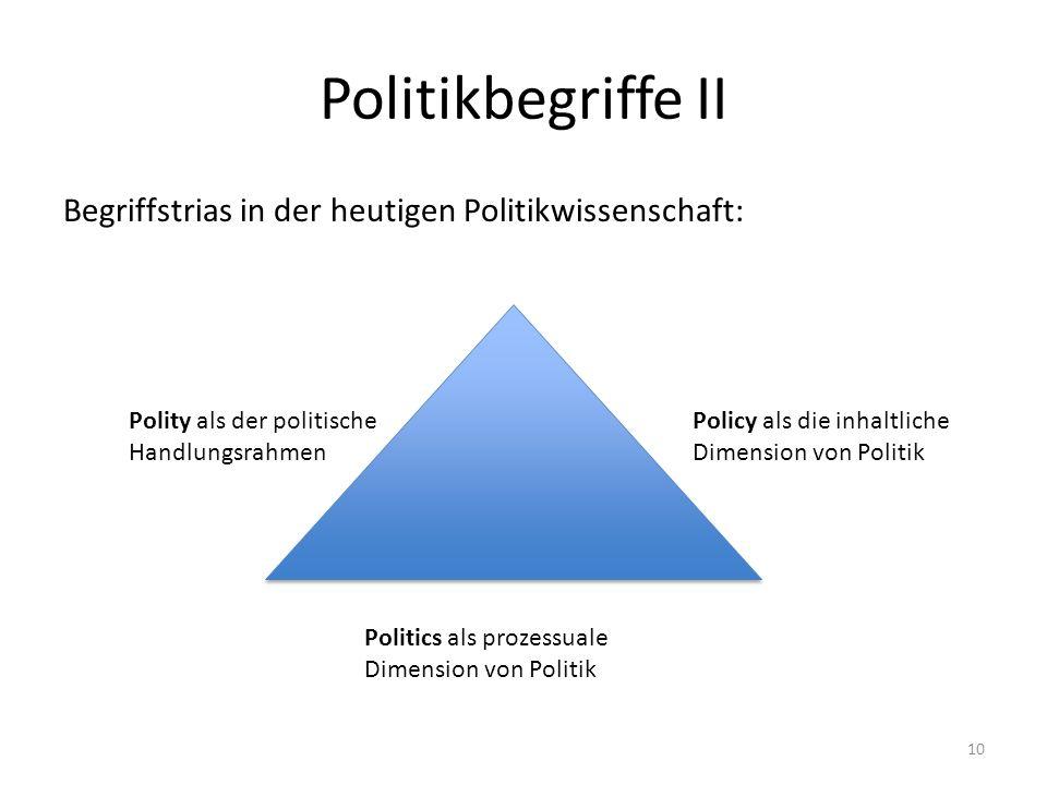 Politikbegriffe II Begriffstrias in der heutigen Politikwissenschaft: Polity als der politische Handlungsrahmen Policy als die inhaltliche Dimension von Politik Politics als prozessuale Dimension von Politik 10