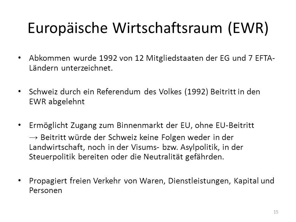 Europäische Wirtschaftsraum (EWR) Abkommen wurde 1992 von 12 Mitgliedstaaten der EG und 7 EFTA- Ländern unterzeichnet.