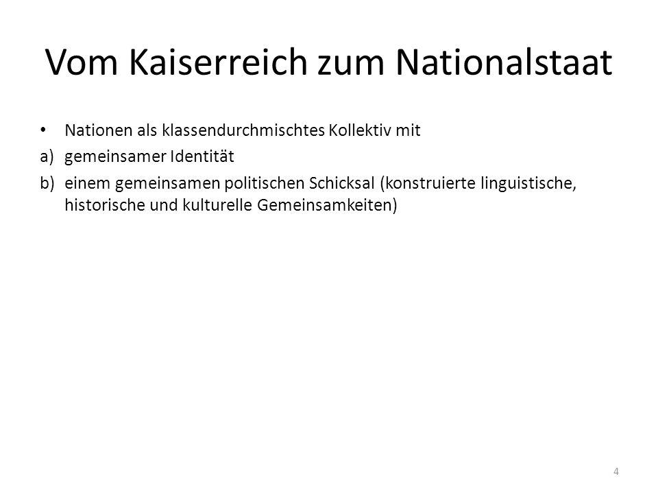Vom Kaiserreich zum Nationalstaat Nationen als klassendurchmischtes Kollektiv mit a)gemeinsamer Identität b)einem gemeinsamen politischen Schicksal (konstruierte linguistische, historische und kulturelle Gemeinsamkeiten) 4