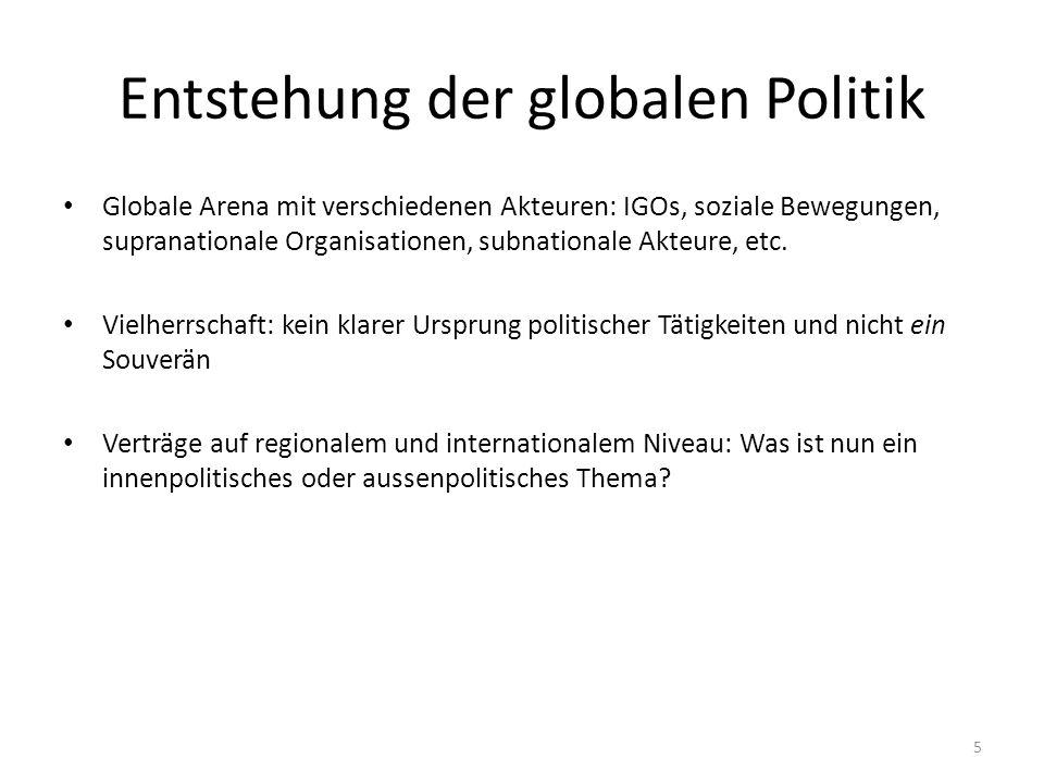 Entstehung der globalen Politik Globale Arena mit verschiedenen Akteuren: IGOs, soziale Bewegungen, supranationale Organisationen, subnationale Akteure, etc.