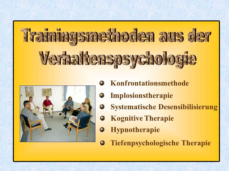 Konfrontationsmethode Implosionstherapie Systematische Desensibilisierung Kognitive Therapie Hypnotherapie Tiefenpsychologische Therapie