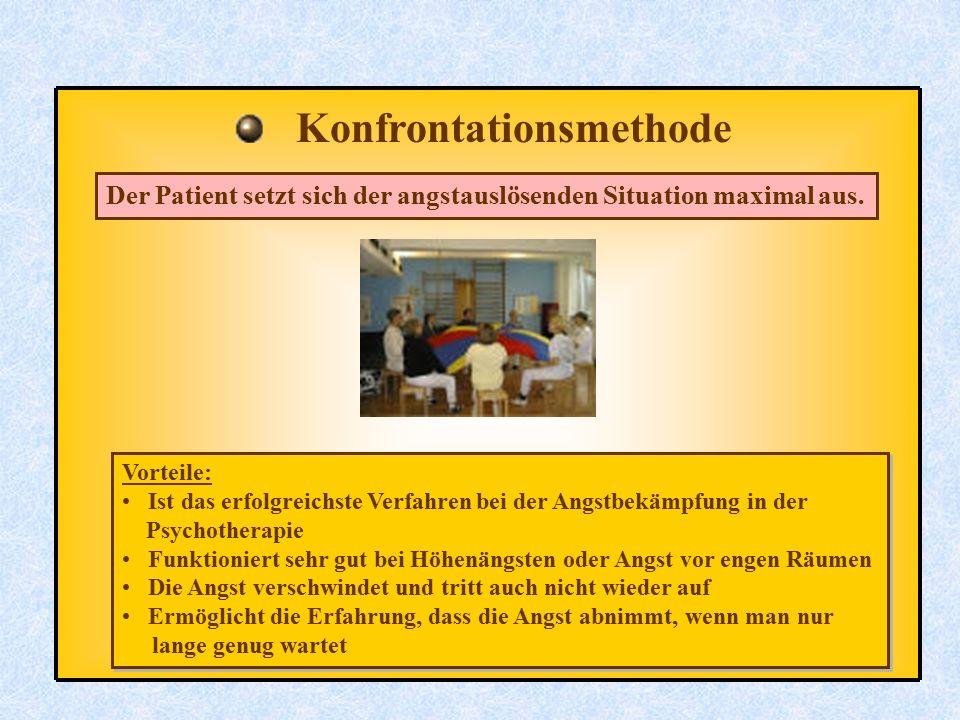 Konfrontationsmethode Der Patient setzt sich der angstauslösenden Situation maximal aus. Vorteile: Ist das erfolgreichste Verfahren bei der Angstbekäm