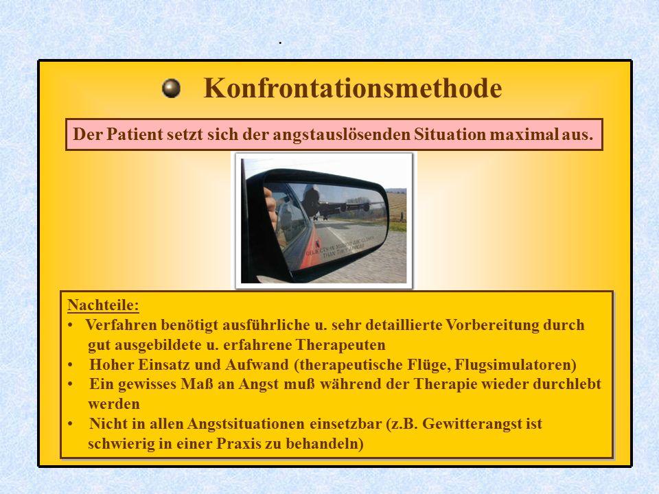 . Konfrontationsmethode Der Patient setzt sich der angstauslösenden Situation maximal aus. Nachteile: Verfahren benötigt ausführliche u. sehr detailli