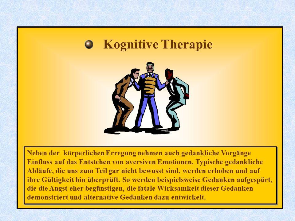 Kognitive Therapie Neben der körperlichen Erregung nehmen auch gedankliche Vorgänge Einfluss auf das Entstehen von aversiven Emotionen. Typische gedan