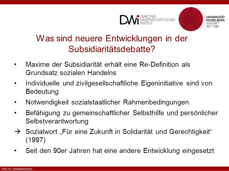 Prof. Dr. Johannes Eurich Was sind neuere Entwicklungen in der Subsidiaritätsdebatte.