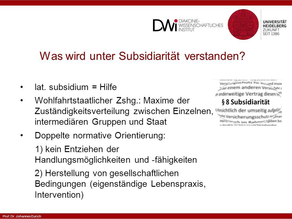 Prof. Dr. Johannes Eurich Was wird unter Subsidiarität verstanden.
