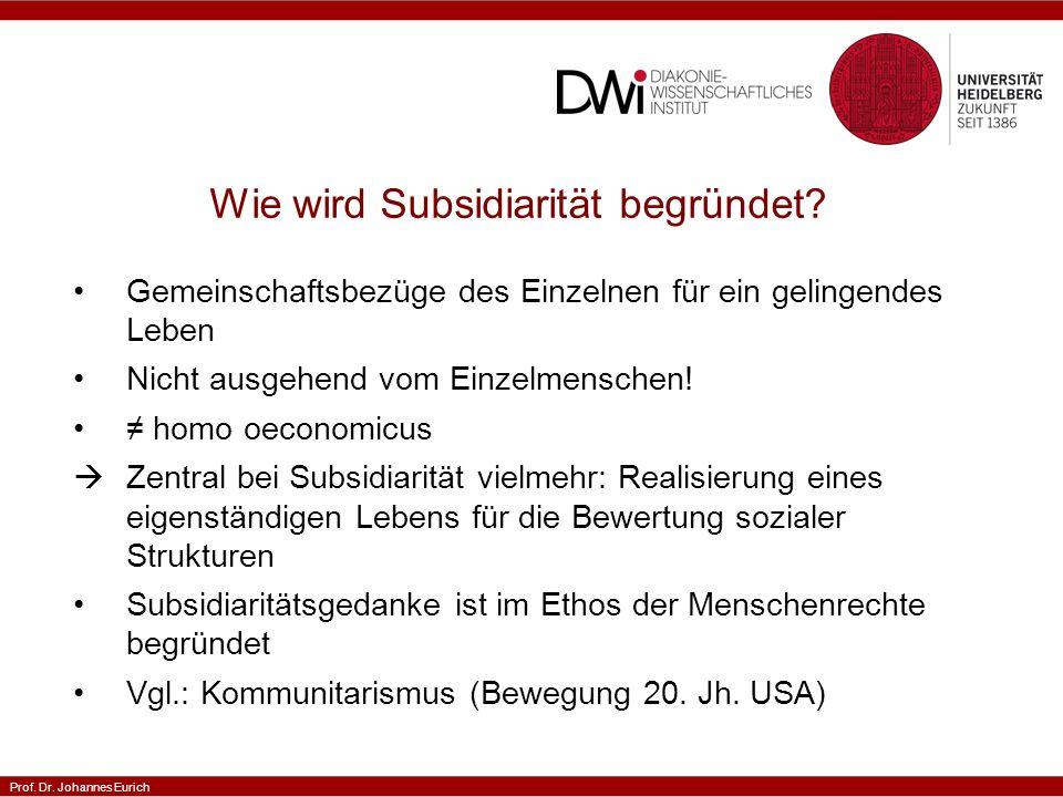 Prof.Dr. Johannes Eurich Was wird in der katholischen Soziallehre unter Subsidiarität verstanden.