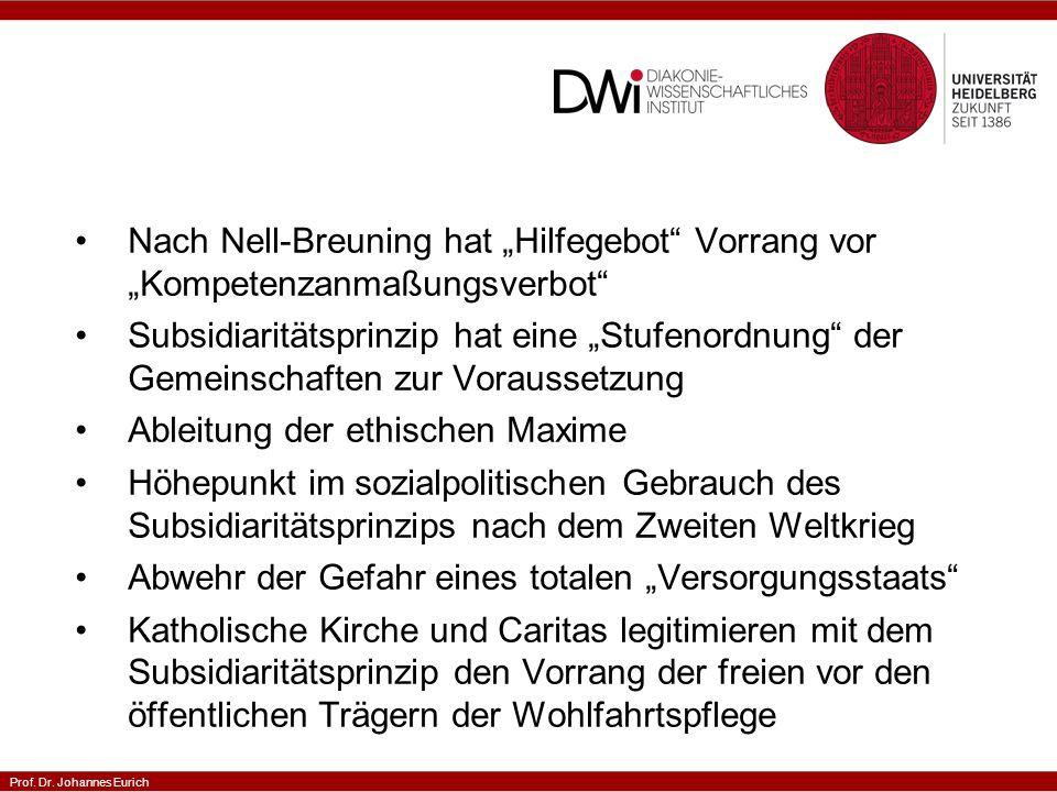 Prof.Dr. Johannes Eurich Gibt es Subsidiarität auch in der evangelischen Sozialethik.