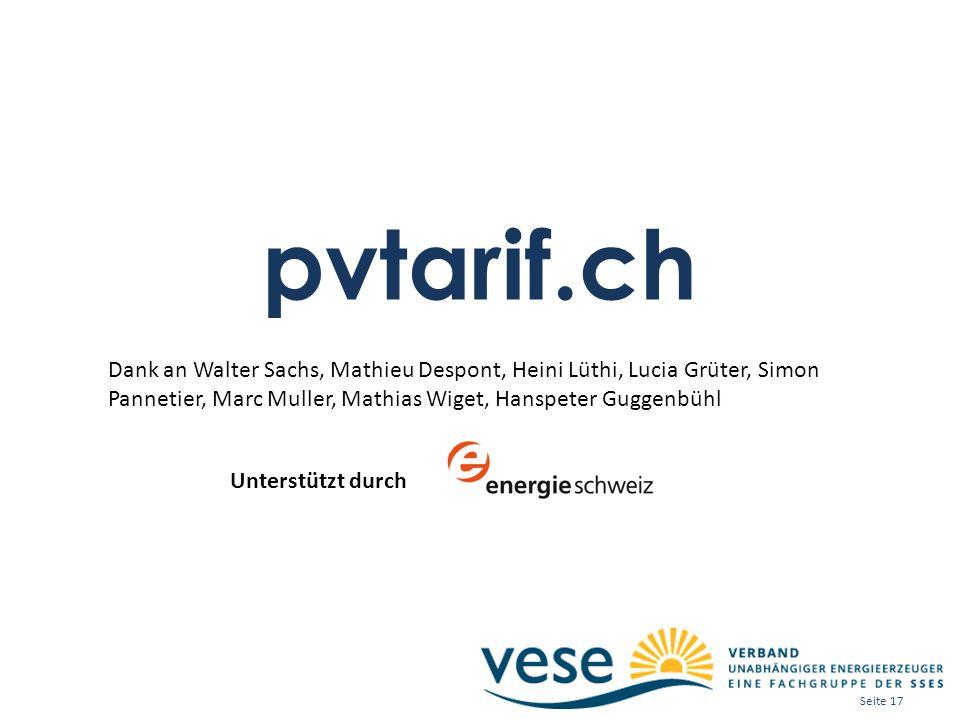 pvtarif.ch Dank an Walter Sachs, Mathieu Despont, Heini Lüthi, Lucia Grüter, Simon Pannetier, Marc Muller, Mathias Wiget, Hanspeter Guggenbühl Unterst