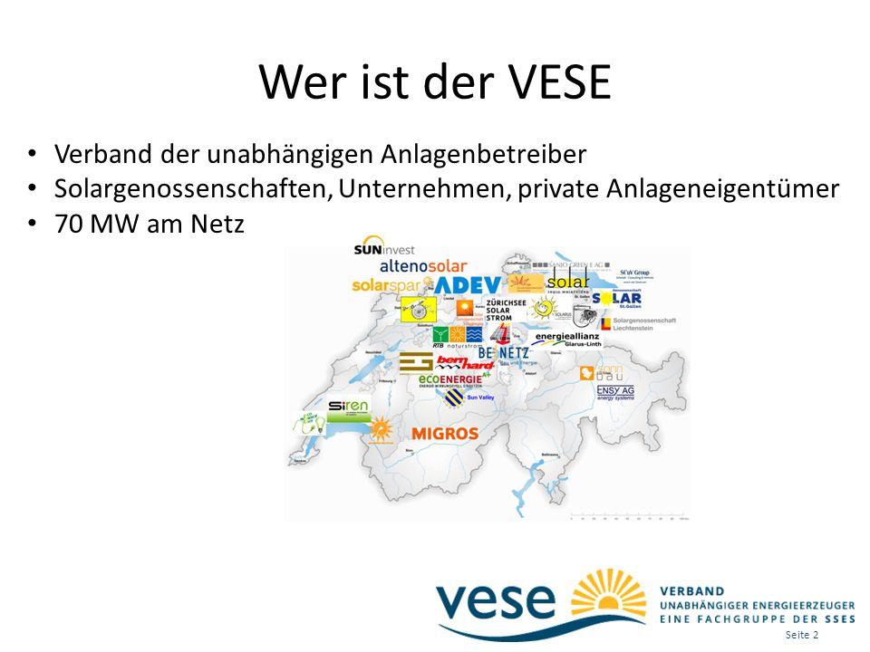 Wer ist der VESE Verband der unabhängigen Anlagenbetreiber Solargenossenschaften, Unternehmen, private Anlageneigentümer 70 MW am Netz Seite 2