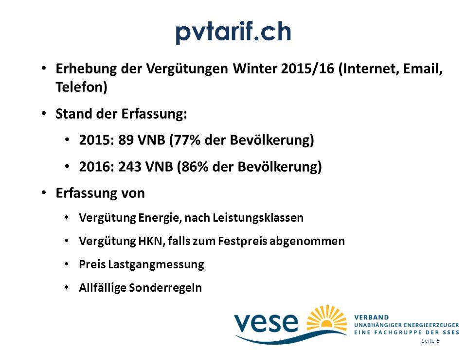 pvtarif.ch Erhebung der Vergütungen Winter 2015/16 (Internet, Email, Telefon) Stand der Erfassung: 2015: 89 VNB (77% der Bevölkerung) 2016: 243 VNB (8