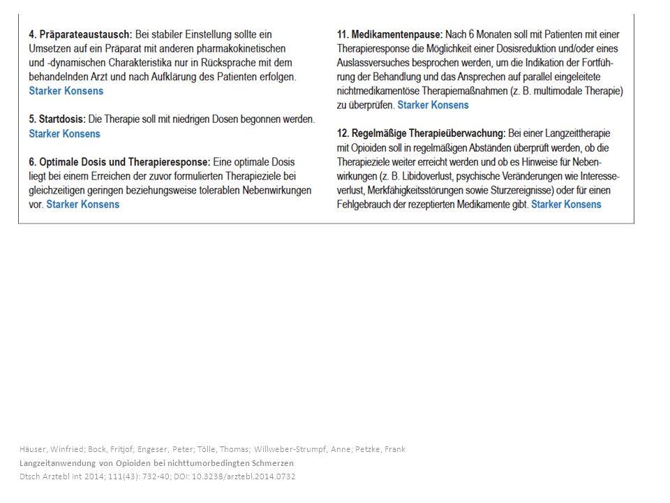 Häuser, Winfried; Bock, Fritjof; Engeser, Peter; Tölle, Thomas; Willweber-Strumpf, Anne; Petzke, Frank Langzeitanwendung von Opioiden bei nichttumorbedingten Schmerzen Dtsch Arztebl Int 2014; 111(43): 732-40; DOI: 10.3238/arztebl.2014.0732