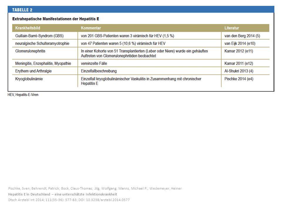 Pischke, Sven; Behrendt, Patrick; Bock, Claus-Thomas; Jilg, Wolfgang; Manns, Michael P.; Wedemeyer, Heiner Hepatitis E in Deutschland – eine unterschätzte Infektionskrankheit Dtsch Arztebl Int 2014; 111(35-36): 577-83; DOI: 10.3238/arztebl.2014.0577