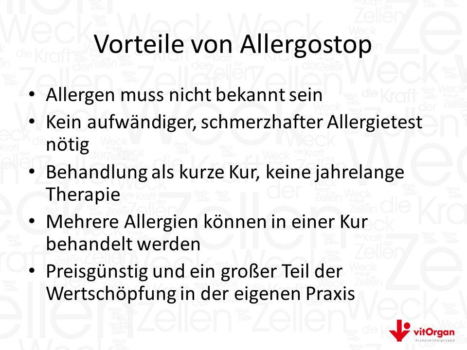Vorteile von Allergostop Allergen muss nicht bekannt sein Kein aufwändiger, schmerzhafter Allergietest nötig Behandlung als kurze Kur, keine jahrelange Therapie Mehrere Allergien können in einer Kur behandelt werden Preisgünstig und ein großer Teil der Wertschöpfung in der eigenen Praxis