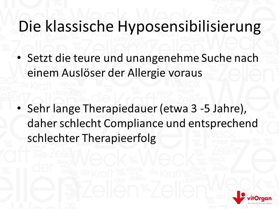 Die klassische Hyposensibilisierung Setzt die teure und unangenehme Suche nach einem Auslöser der Allergie voraus Sehr lange Therapiedauer (etwa 3 -5 Jahre), daher schlecht Compliance und entsprechend schlechter Therapieerfolg