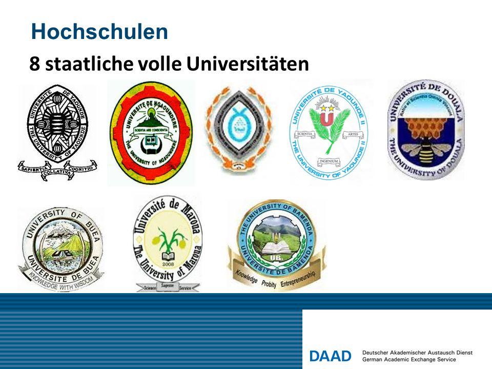Hochschulen 8 staatliche volle Universitäten