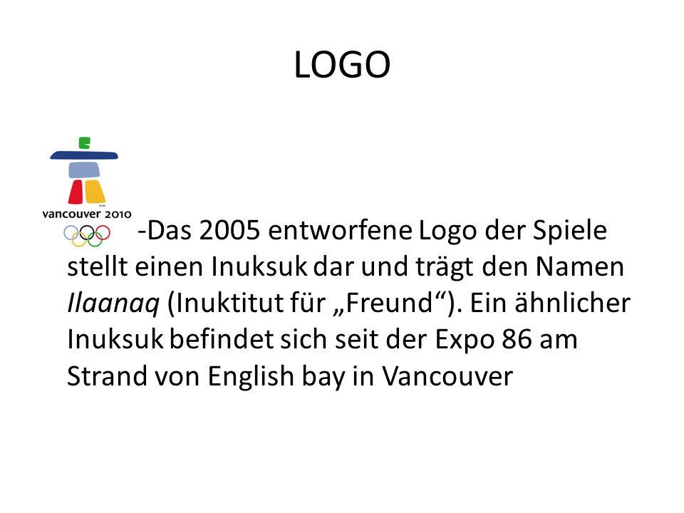 """LOGO -Das 2005 entworfene Logo der Spiele stellt einen Inuksuk dar und trägt den Namen Ilaanaq (Inuktitut für """"Freund )."""