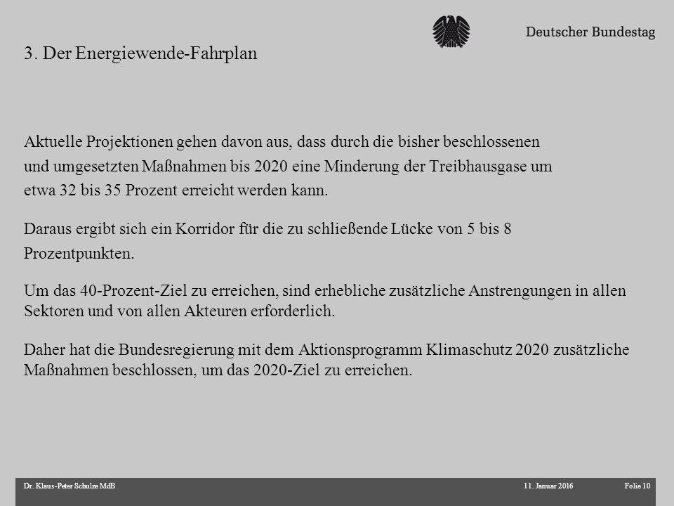 Folie 10Dr. Klaus-Peter Schulze MdB Aktuelle Projektionen gehen davon aus, dass durch die bisher beschlossenen und umgesetzten Maßnahmen bis 2020 eine