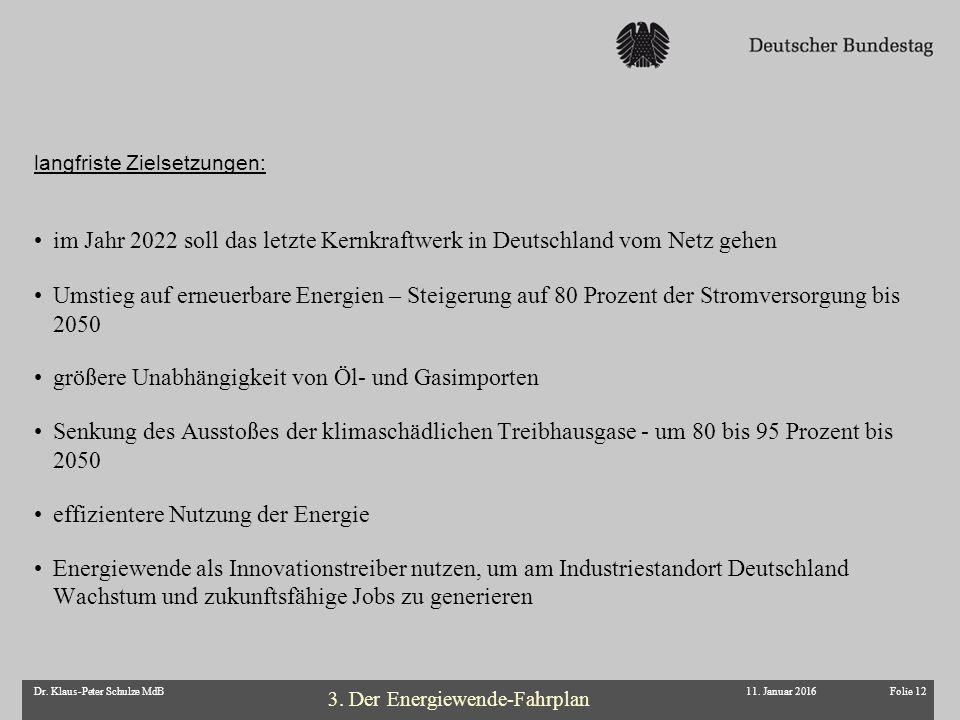 Folie 12Dr. Klaus-Peter Schulze MdB im Jahr 2022 soll das letzte Kernkraftwerk in Deutschland vom Netz gehen Umstieg auf erneuerbare Energien – Steige