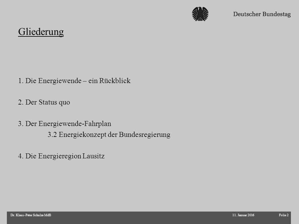 Gliederung 11. Januar 2016Folie 2Dr. Klaus-Peter Schulze MdB 1. Die Energiewende – ein Rückblick 2. Der Status quo 3. Der Energiewende-Fahrplan 3.2 En