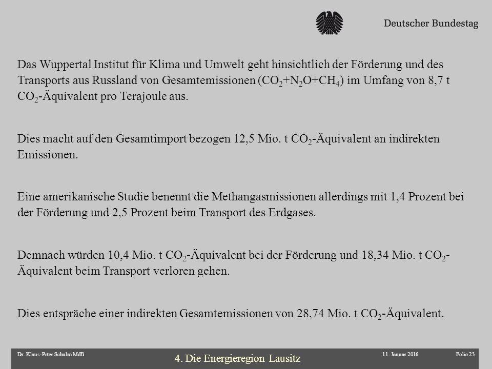 Folie 23Dr. Klaus-Peter Schulze MdB11. Januar 2016 Das Wuppertal Institut für Klima und Umwelt geht hinsichtlich der Förderung und des Transports aus