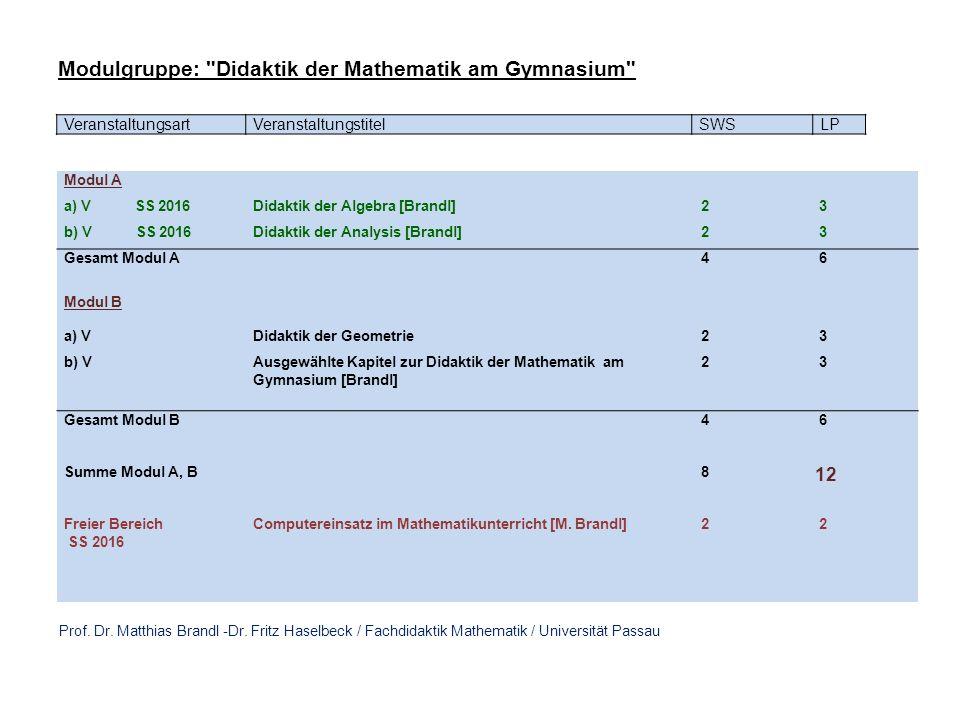 VeranstaltungsartVeranstaltungstitelSWSLP Modul A a) V SS 2016Didaktik der Algebra [Brandl] 2 3 b) V SS 2016Didaktik der Analysis [Brandl] 2 3 Gesamt Modul A 4 6 Modul B a) VDidaktik der Geometrie 2 3 b) VAusgewählte Kapitel zur Didaktik der Mathematik am Gymnasium [Brandl] 2 3 Gesamt Modul B 4 6 Summe Modul A, B 8 12 Freier Bereich SS 2016 Computereinsatz im Mathematikunterricht [M.