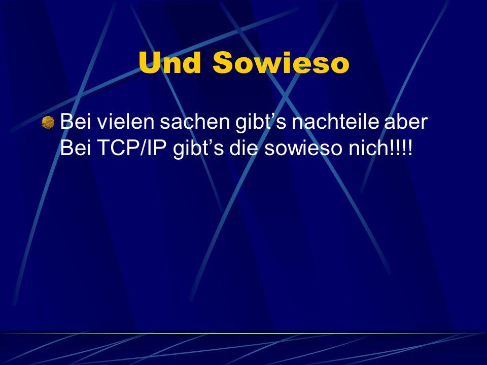 Und Sowieso Bei vielen sachen gibt's nachteile aber Bei TCP/IP gibt's die sowieso nich!!!!