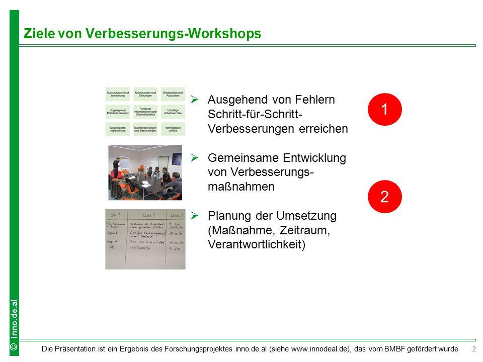 2 Die Präsentation ist ein Ergebnis des Forschungsprojektes inno.de.al (siehe www.innodeal.de), das vom BMBF gefördert wurde © inno.de.al Ziele von Ve