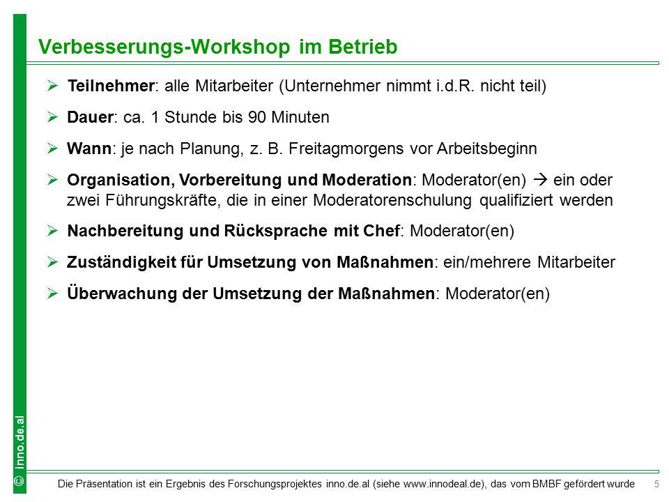5 Die Präsentation ist ein Ergebnis des Forschungsprojektes inno.de.al (siehe www.innodeal.de), das vom BMBF gefördert wurde © inno.de.al  Teilnehmer