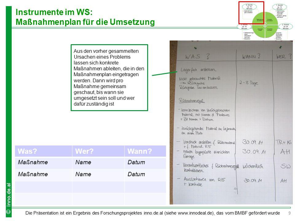 9 Die Präsentation ist ein Ergebnis des Forschungsprojektes inno.de.al (siehe www.innodeal.de), das vom BMBF gefördert wurde © inno.de.al Instrumente