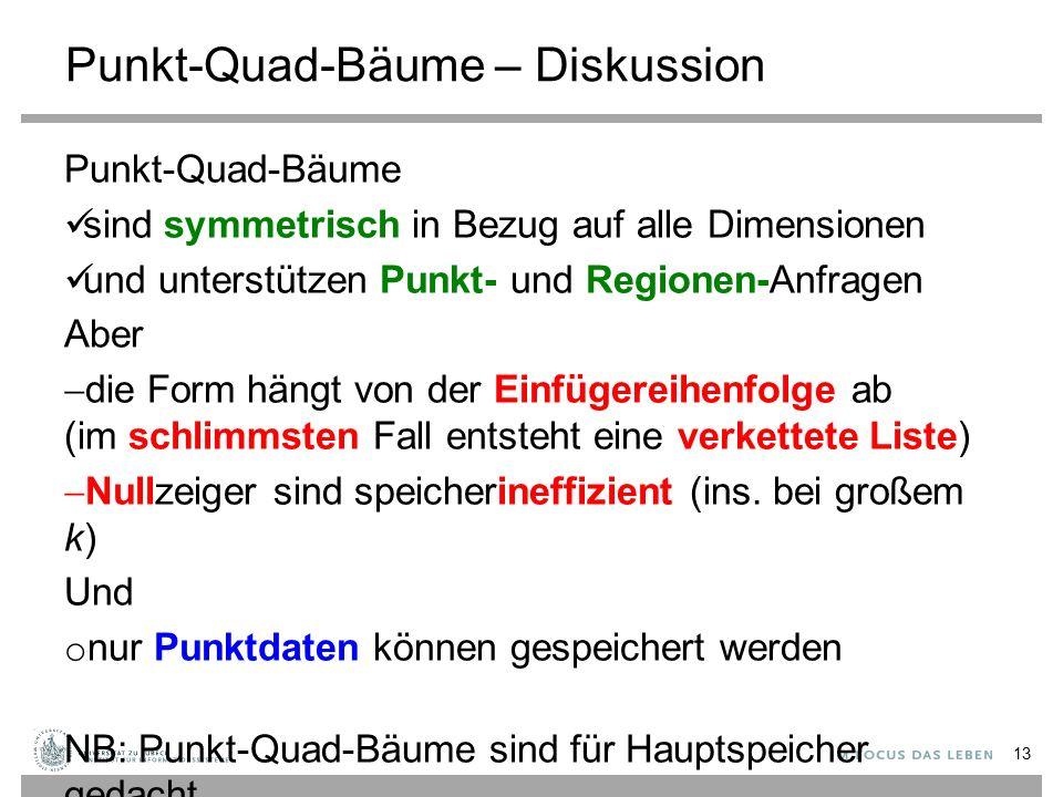 Punkt-Quad-Bäume – Diskussion Punkt-Quad-Bäume sind symmetrisch in Bezug auf alle Dimensionen und unterstützen Punkt- und Regionen-Anfragen Aber  die Form hängt von der Einfügereihenfolge ab (im schlimmsten Fall entsteht eine verkettete Liste)  Nullzeiger sind speicherineffizient (ins.