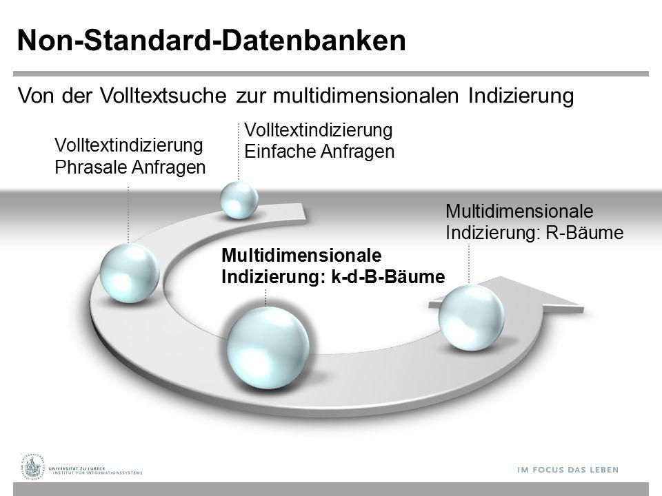 Volltextindizierung Phrasale Anfragen Non-Standard-Datenbanken Multidimensionale Indizierung: k-d-B-Bäume Multidimensionale Indizierung: R-Bäume Von der Volltextsuche zur multidimensionalen Indizierung Volltextindizierung Einfache Anfragen