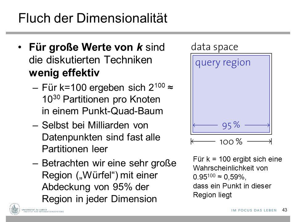 """Fluch der Dimensionalität Für große Werte von k sind die diskutierten Techniken wenig effektiv –Für k=100 ergeben sich 2 100 ≈ 10 30 Partitionen pro Knoten in einem Punkt-Quad-Baum –Selbst bei Milliarden von Datenpunkten sind fast alle Partitionen leer –Betrachten wir eine sehr große Region (""""Würfel ) mit einer Abdeckung von 95% der Region in jeder Dimension 43 Für k = 100 ergibt sich eine Wahrscheinlichkeit von 0.95 100 ≈ 0,59%, dass ein Punkt in dieser Region liegt"""