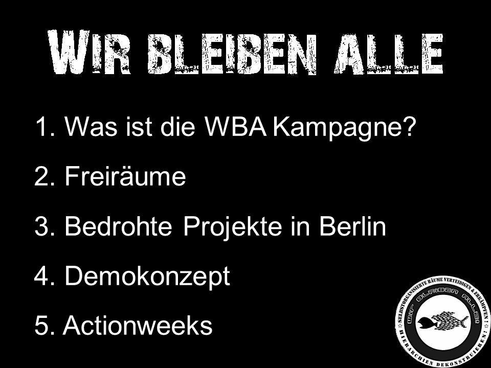 1. Was ist die WBA Kampagne. 2. Freiräume 3. Bedrohte Projekte in Berlin 4.