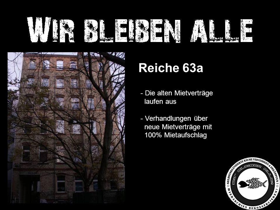 Reiche 63a - Die alten Mietverträge laufen aus - Verhandlungen über neue Mietverträge mit 100% Mietaufschlag