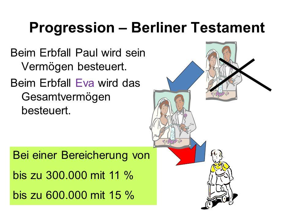 Progression – Berliner Testament Beim Erbfall Paul wird sein Vermögen besteuert.