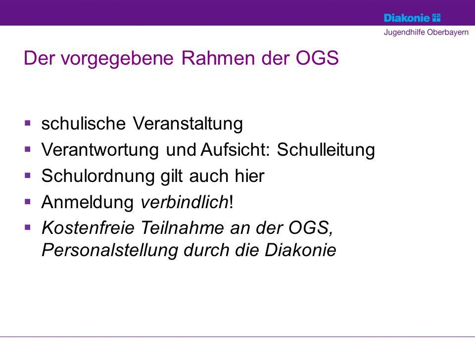 Der vorgegebene Rahmen der OGS  schulische Veranstaltung  Verantwortung und Aufsicht: Schulleitung  Schulordnung gilt auch hier  Anmeldung verbindlich.
