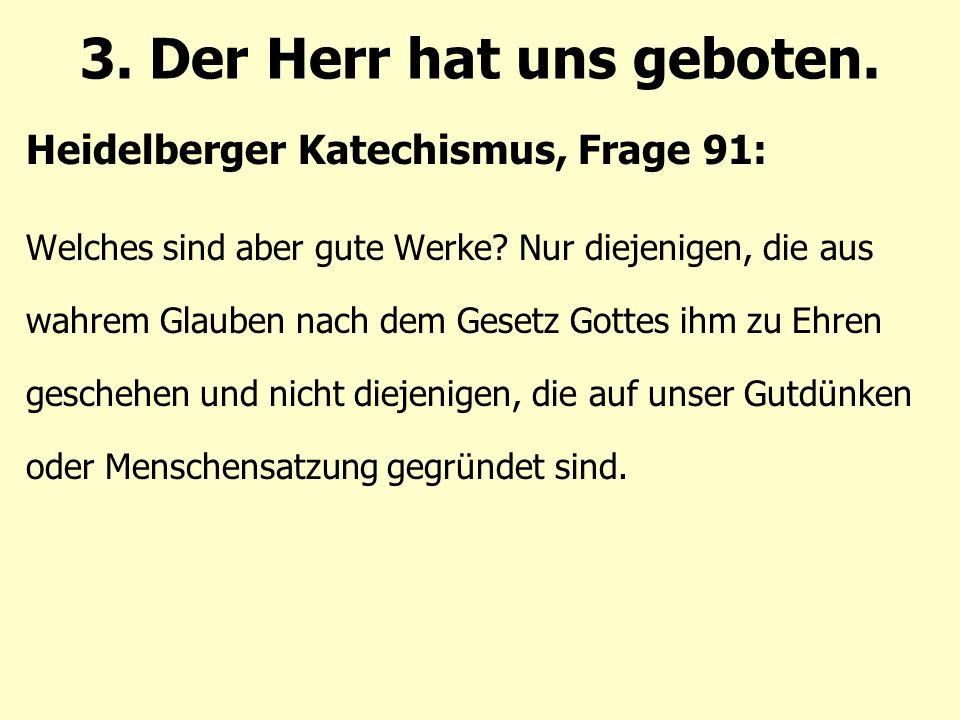 Heidelberger Katechismus, Frage 91: Welches sind aber gute Werke.