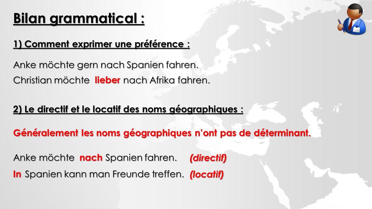 Bilan grammatical : 1) Comment exprimer une préférence : Anke möchte gern nach Spanien fahren.