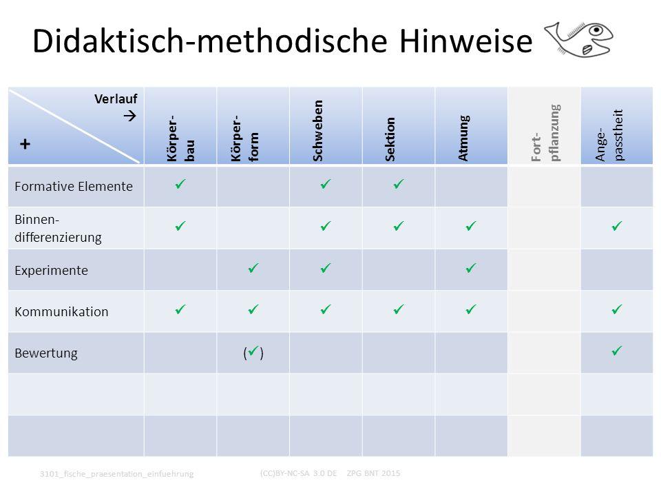 Didaktisch-methodische Hinweise 3101_fische_praesentation_einfuehrung (CC)BY-NC-SA 3.0 DE ZPG BNT 2015 Verlauf  Körper- bau Körper- form Schweben Sek