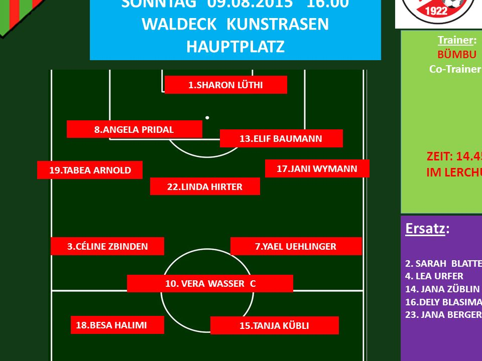 FC LERCHENFELD 5:2 FC BELP SONNTAG 09.08.2015 16.00 WALDECK KUNSTRASEN HAUPTPLATZ 1.SHARON LÜTHI 13.ELIF BAUMANN Ersatz: 2.