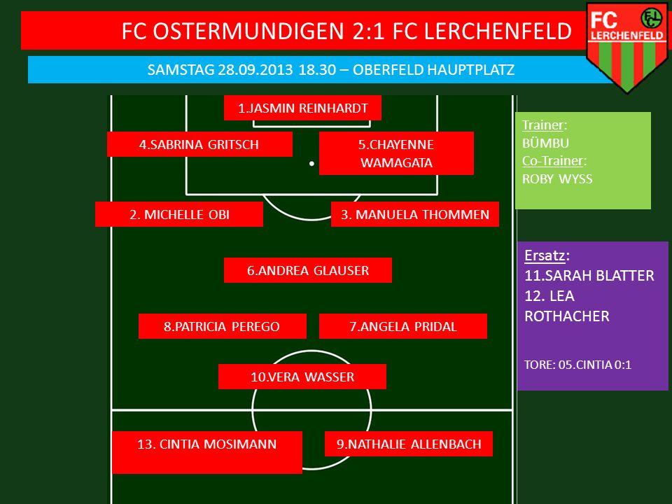 FC OSTERMUNDIGEN 2:1 FC LERCHENFELD SAMSTAG 28.09.2013 18.30 – OBERFELD HAUPTPLATZ 1.JASMIN REINHARDT 4.SABRINA GRITSCH Ersatz: 11.SARAH BLATTER 12.