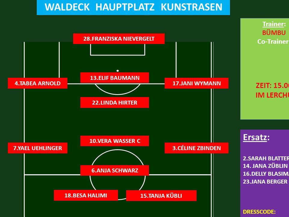 FC LERCHENFELD 1:5 FC STEFFISBURG SONNTAG 06.09.2015 16.15 WALDECK HAUPTPLATZ KUNSTRASEN 28.FRANZISKA NIEVERGELT 17.JANI WYMANN Ersatz: 2.SARAH BLATTER 14.