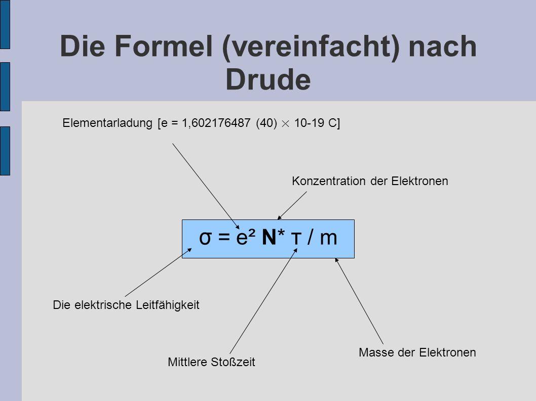 Die Formel (vereinfacht) nach Drude σ = e² N* τ / m Elementarladung [e = 1,602176487 (40) × 10-19 C] Die elektrische Leitfähigkeit Konzentration der E