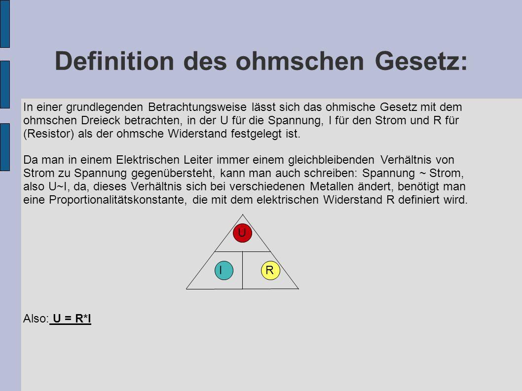Definition des ohmschen Gesetz: IRIR U In einer grundlegenden Betrachtungsweise lässt sich das ohmische Gesetz mit dem ohmschen Dreieck betrachten, in