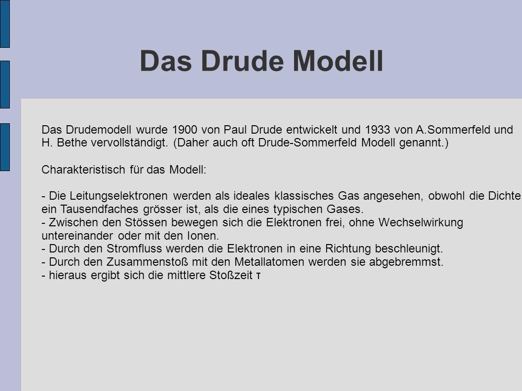 Das Drude Modell Das Drudemodell wurde 1900 von Paul Drude entwickelt und 1933 von A.Sommerfeld und H. Bethe vervollständigt. (Daher auch oft Drude-So