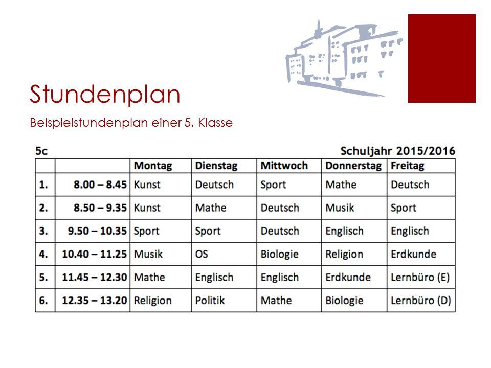 Stundenplan Beispielstundenplan einer 5. Klasse