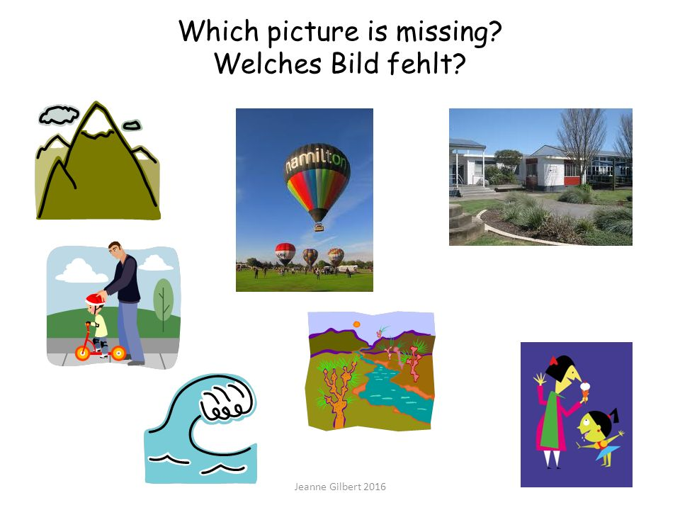 Which picture is missing Welches Bild fehlt Jeanne Gilbert 2016