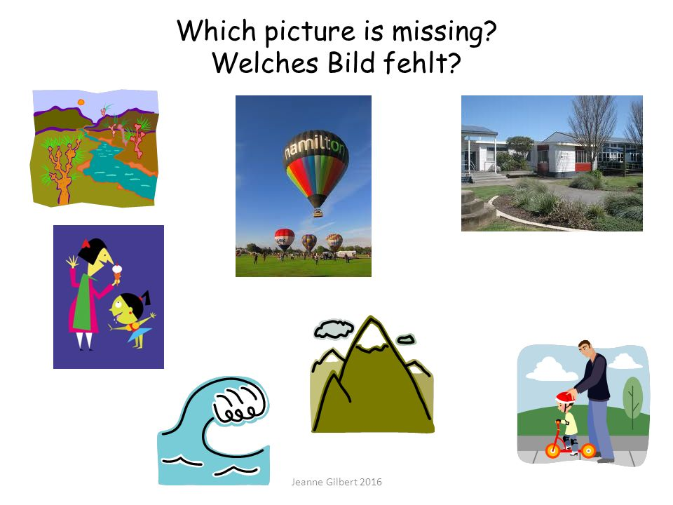 Which picture is missing? Welches Bild fehlt? Jeanne Gilbert 2016